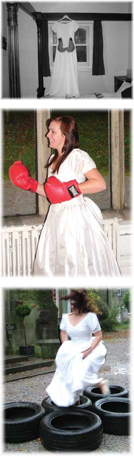 wedding dress and boxing gloves